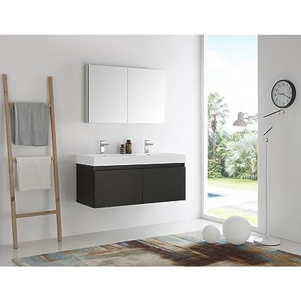 Superb Amazon Com Fresca Mezzo Black 48 Inch Wall Hung Double Sink Download Free Architecture Designs Ferenbritishbridgeorg