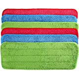 TecUnite 6 Pieces Microfiber Cleaning Pads Reveal Mop 16 to 18 inch Fit for Most Spray Mops and Reveal Mops Washable (16.5 x 5.5 inch)