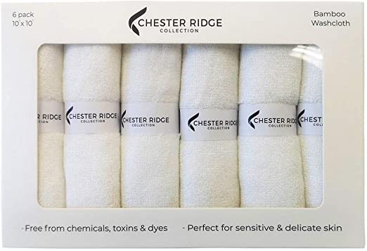 """Cream  Bamboo Wash cloth set Baby Adult Sensitive skin cleaning 10/""""x 10/"""" 6 Pack"""