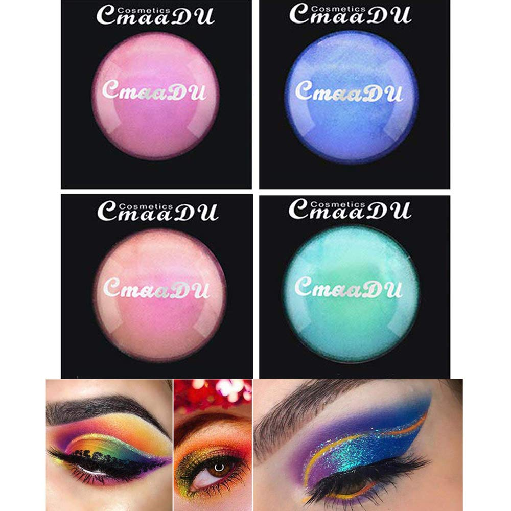 Ownest 4 Colors Multi-Chrome Shade Shifting Pigments EyeShadow,Iridescent Shimmer Glitter Smooth Eyeshadow, Makeup Pigments,Highlighting Lip Setting and Nail Coating Eyeshadow Dye Colorant