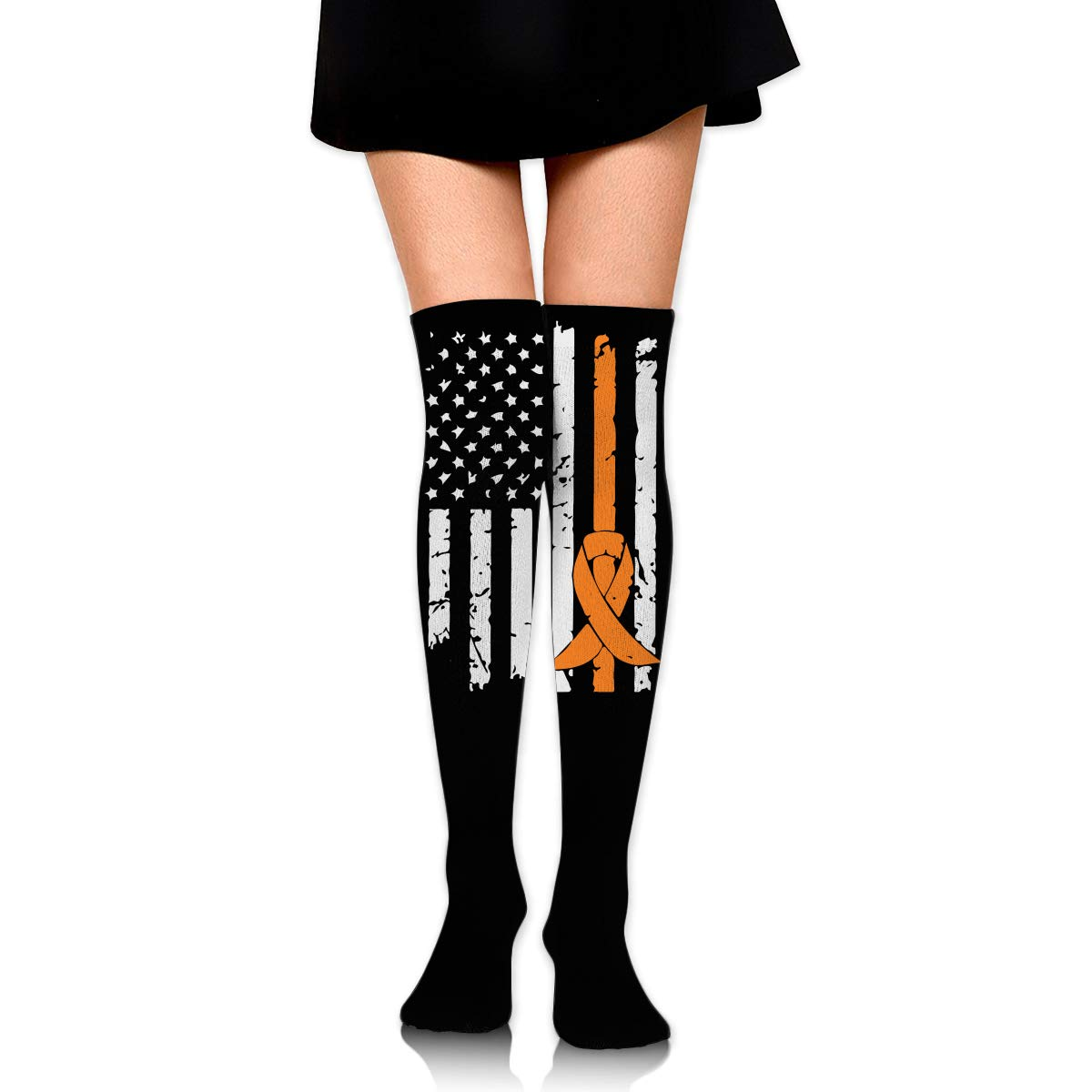 One Size Girls Womens Leukemia Awareness Flag Over Knee Thigh High Stockings Fashion Socks