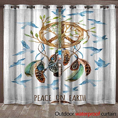 (BlountDecor Outdoor Door Curtain Watercolor Ethnic Dream Catcher and Peace Sign Waterproof CurtainW120 x L96)