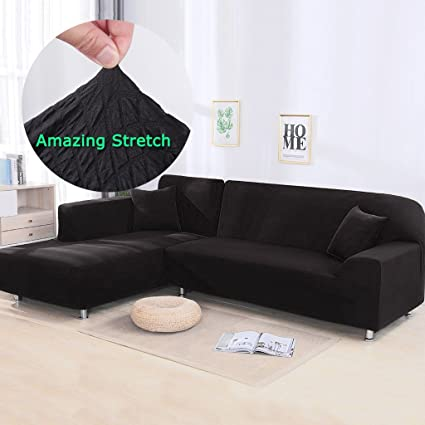 Amazon.com: Taiyucover Anti-wrinkle Knitted Squares L-Shaped Sofa ...