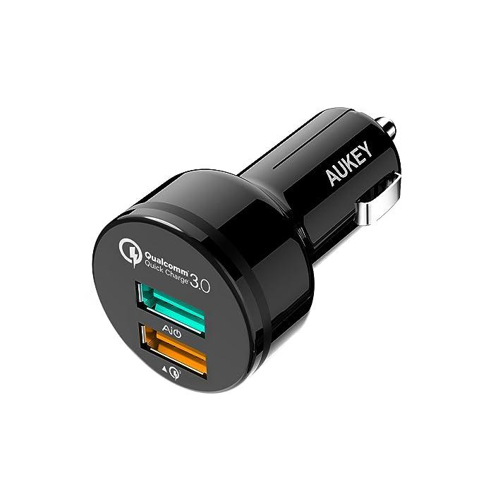 Aukey Quick Charge 3.0 Cargador de coche con 2 puertos USB, 1 salida Quick Charge 3.0 y 1 salida 5 V/3 A con AIPower tecnología, cargador mechero para ...