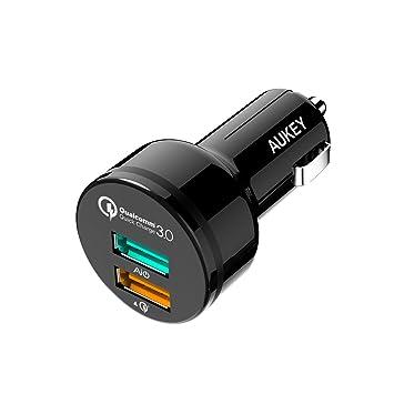 Aukey - Cargador de Coche con 2 Puertos USB, 34,5 W, tecnología AiPower, Cable Micro USB de 1 m