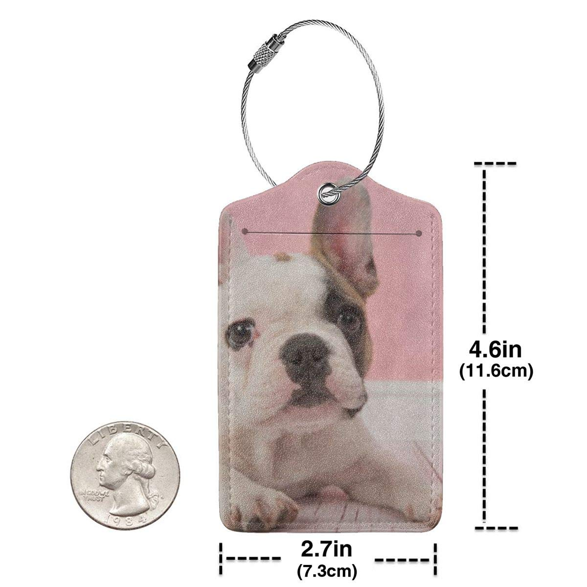 French Bulldog2 Leather Luggage Tags Personalized Address Card With Adjustable Strap
