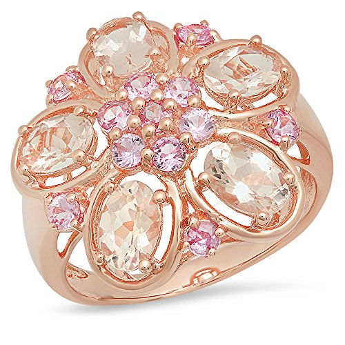 (Dazzlingrock Collection 2.92 Carat (ctw) Rose Gold Plated Sterling Silver Pink Sapphire & Morganite Flower Ring, Size 8)