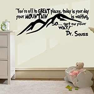"""Imprinted Designs You're Off to Great Places. Dr Seuss Quote Vinyl Wall Decal Sticker Art (Black, 15"""" X 42"""")"""