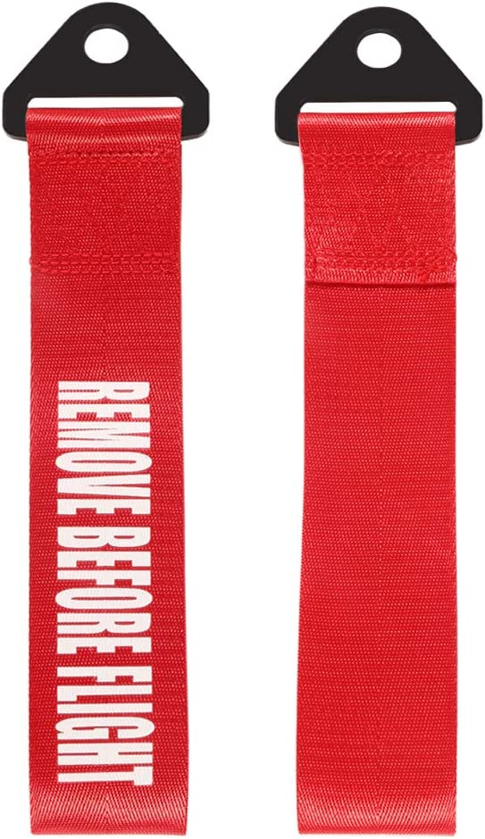 DORHEA Tow Strap Racing High Strength Short Tow Strap Universal Cars Set Belt Nylon Strap Red Tow Point Arrow Sticker Bar for Front Or Rear Bumper Stickers Towing Hooks