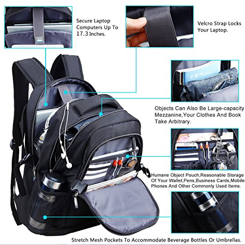 17.3 inch Laptop Backpack with Rain Cover Airbag Shockproof - Import It All ac2b5e07c54b9
