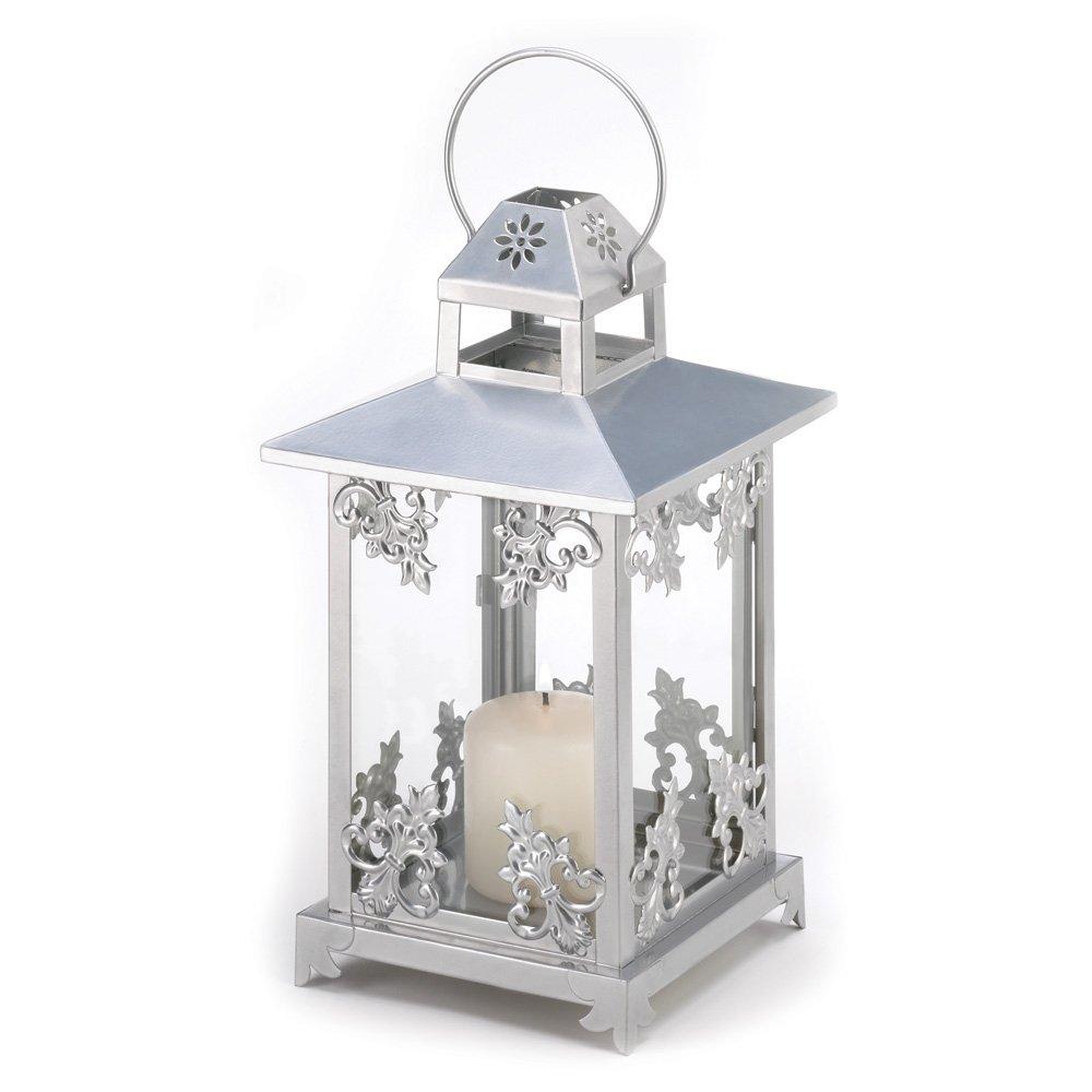 Gifts & Decor Scrollwork Candle Lantern, Wash, Silver, 18.4 x 18.4 x 39.4 cm Furniture Creations SLC-39891-V6