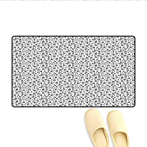 (YGUII Door-mat Mathematics Multiplication Square Root Addition Subtraction Equations Monochrome Bathroom Mat for Tub Non Slip Black White 16X23.6in (40x60cm))