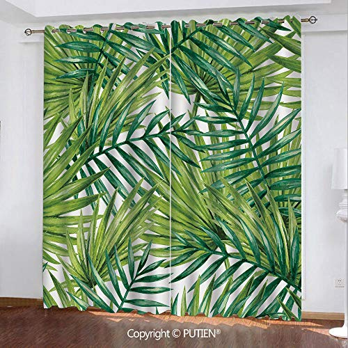 Satin Grommet Window Curtains Drapes [ Plant,Watercolor Tropical Palm Leaves Colorful Illustration Natural Feelings Decorative,Fern Green Lime Green ] Window Curtain for Living Room Bedroom Dorm Room