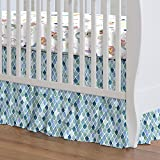 Carousel Designs Blue Watercolor Scales Crib Skirt Gathered 20-Inch Length