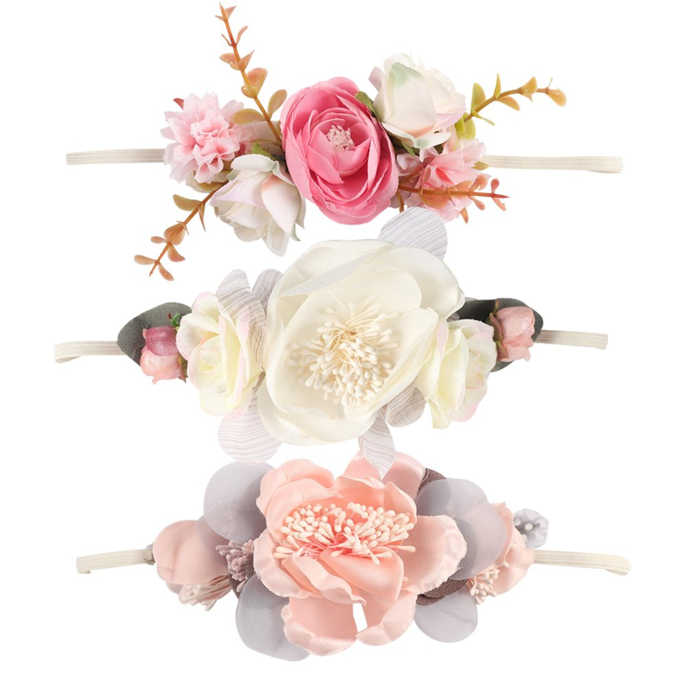 Ncmama Baby Floral Headbands Hair Bows Elastic Bands for Newborn Infant Toddler Hairbands YYTZGEZE