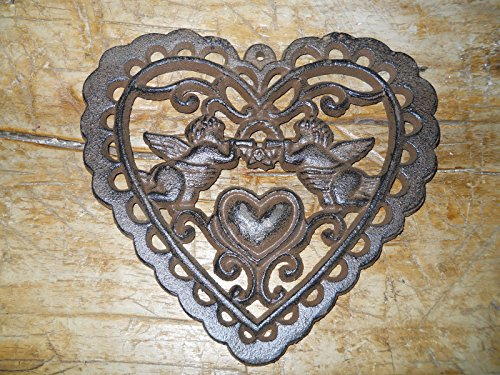 was Manufactured to Look Antique Cast Iron Victorian Style Heart Plaque Sign Rustic Cherub Wall Decor Angel Inspiration for A Project