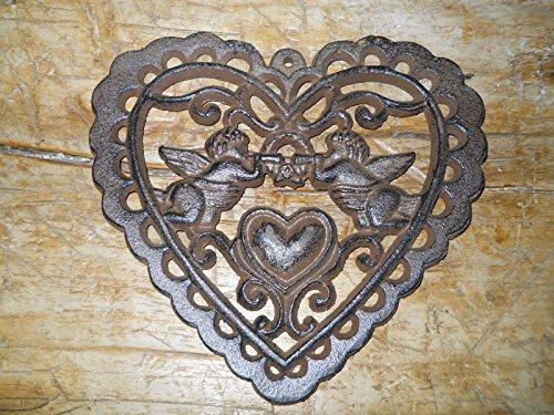 Straik Cast Iron Victorian Style Heart Plaque Sign Rustic Cherub Wall Decor Angel