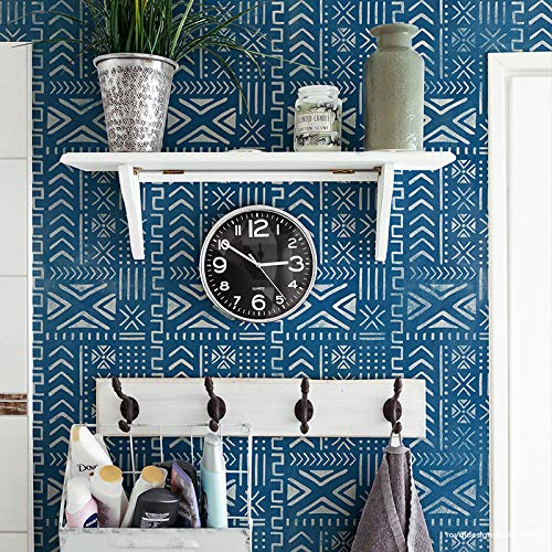 Mali Mudcloth Wall Stencil - Tribal Stencil - African Mud Cloth Pattern Wallpaper Stencil - Large Wall Stencils for Painting Boho Wall Art - Bohemian Stencils - Geometric Tribal Mural Art ()