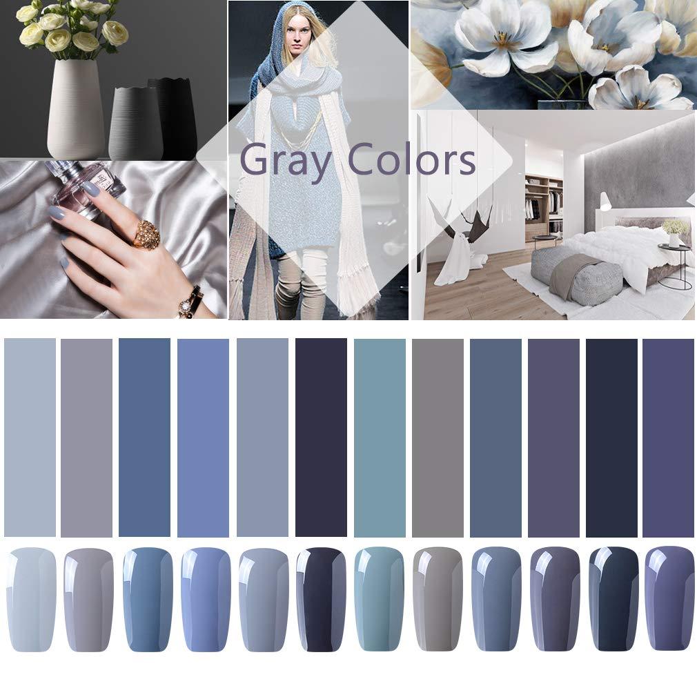 CLAVUZ Gel Nail Polish 12pcs Gray Nail Polish Kit Soak Off UV Gel Nail Lacquer Nail Art Manicure New Starter Gift Set CLAVUZ Gel Polish