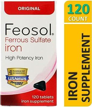 Amazon.com: Feosol Suplemento de hierro, 120, 46017-097-12N ...