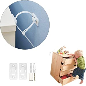 COOLMI Furniture Straps, Baby Proofing Wall Anchor, Anti Tip Furniture Anchors Kit, Adjustable Child Safety Straps Earthquake Resistant to Prevent Toddler and Pets from Falling Furniture (15 Pack)