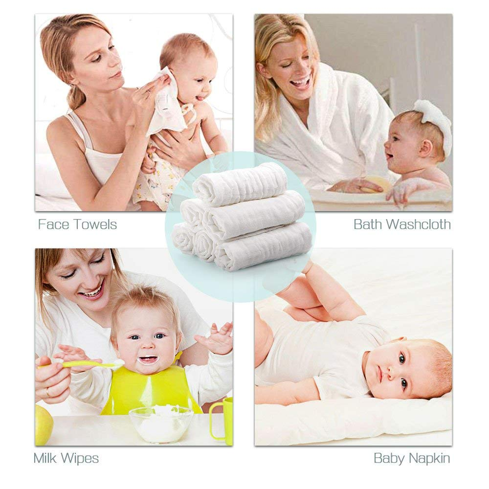"""White 10/""""/×10/"""" Great Baby Shower Gift Baby Washcloths Ricdecor 6 Pack Extra Soft Baby Muslin Washcloths and Towels Organic Cotton and Dye Free Baby Wipes Perfect for Baby/'s Sensitive Skin"""