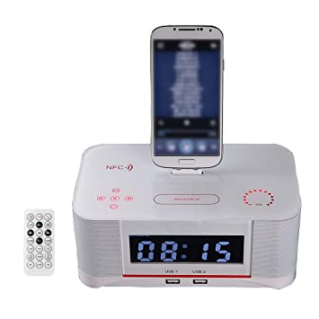 Estación de Carga USB, Bluetooth Reloj Radio Base Dock Altavoz Alarma inalámbrica Estación de carga