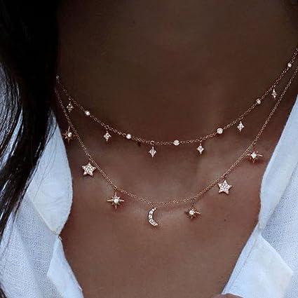 0abfed5e4267 wanmanee Nueva Cadena Multilayer Collar Gargantilla Estrella Luna Oro  Mujeres Joyería Moda