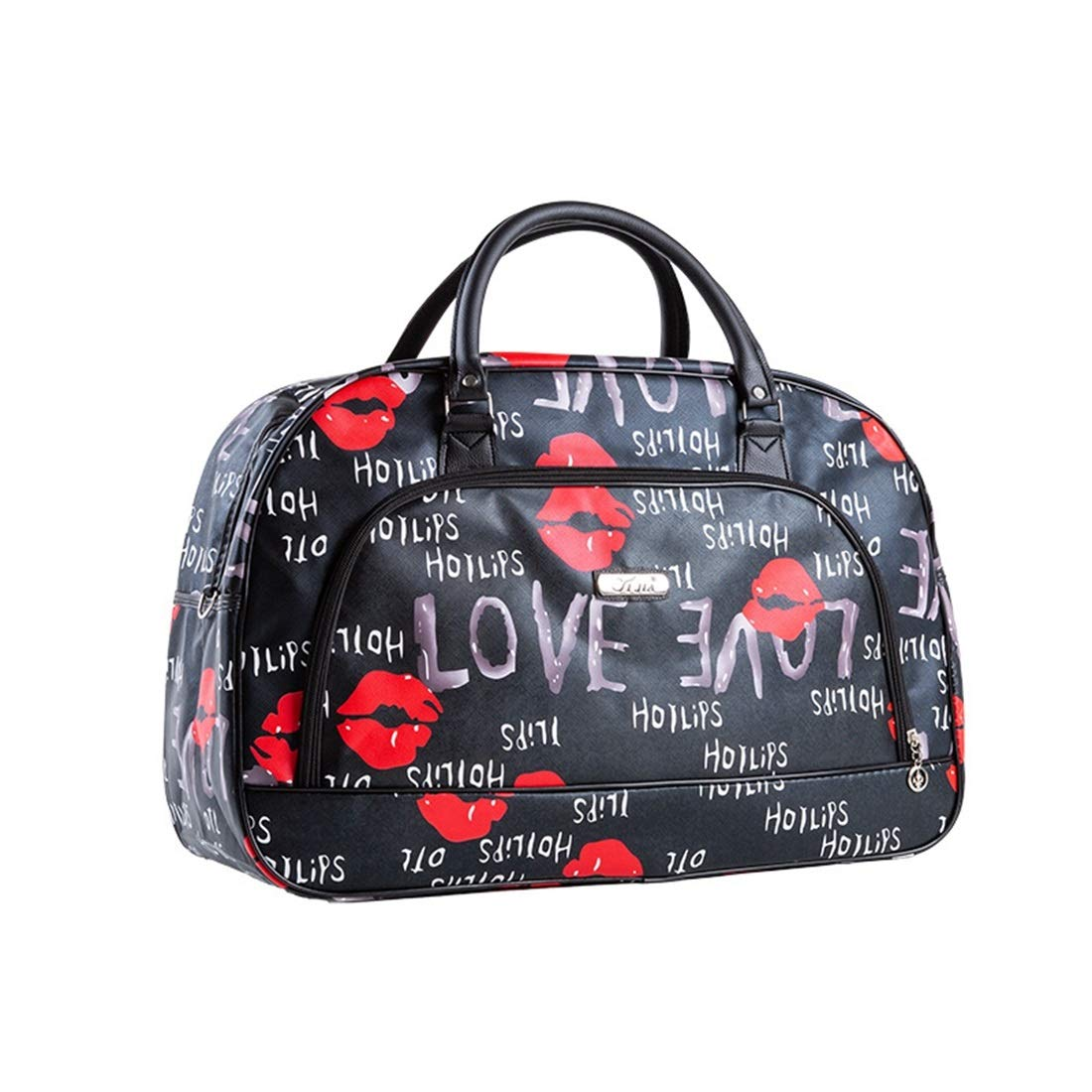 Color : Red Lips, Size : S HXDZDS PU Leather Travel Bag Short-Distance Travel Waterproof Bag Male and Female Student Bag Duffel Bag Multifunctional Bag The Best Travel Helper
