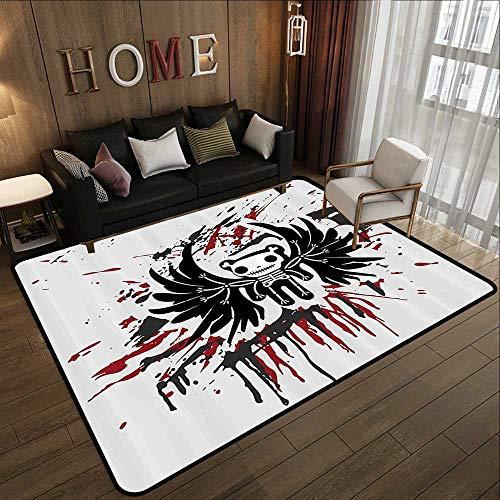 Office Floor mats,Halloween,Teddy Bones with Skull Face and