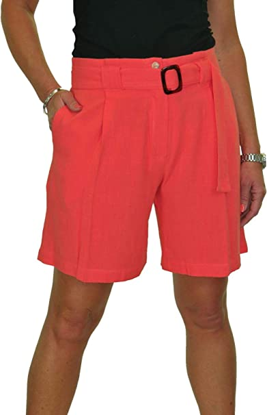 Ladies Smart Casual Washable Tailored Shorts Red NEW 8-22