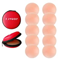 Silicone Nipple Covers - 5 Pairs, Women's Reusable Adhesive Invisible Pasties Nippleless Covers Round
