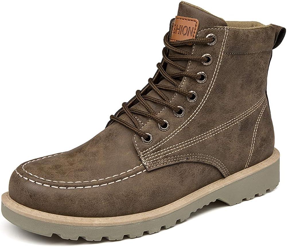 Botas de Hombre con Cordones Invierno Cuero Martin Botas Hombres Impermeable Trabajo Herramientas Seguridad Tobillo Botas Zapatos Casuales