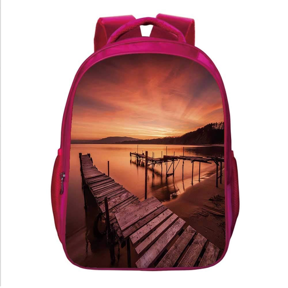Scenery House Decor Multifunctional School Bag,Old Rustic Pier on Beach and Romantic Tranquil Sky Pure Twilight Concept for School Travel,One_Size