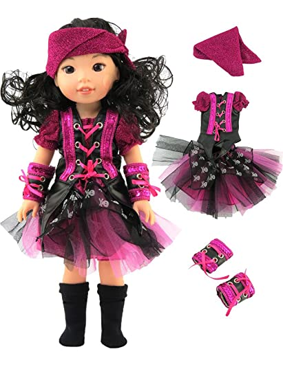 metallic pirate halloween costume fits 14 wellie wisher dolls 14 inch