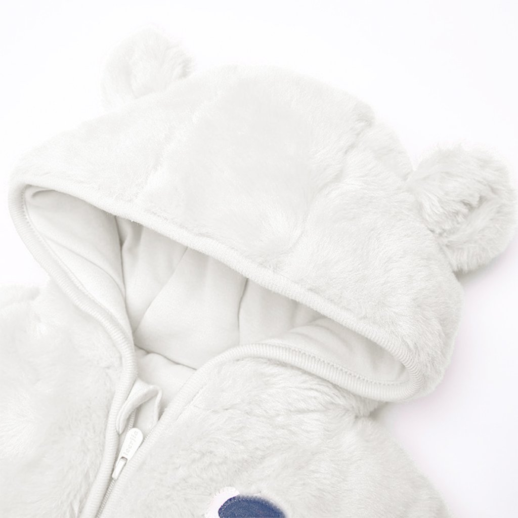 Baby Winter Hooded Romper Fleece Snowsuit Boys Girls Thick Outfits 0-18 Months