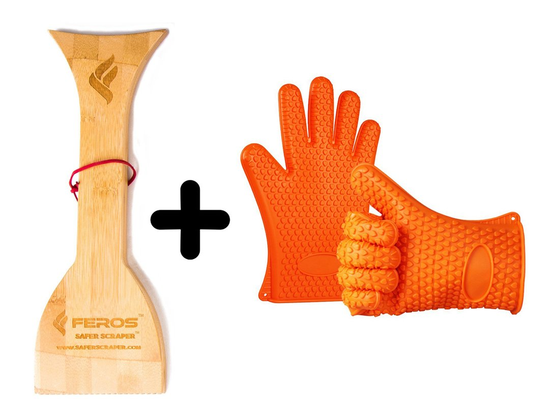 FEROS KIT ñ (2 Items!) Safer Scraper Wood BBQ Wooden Grill Cleaner and Best Silicone Heat Resistant Grill Gloves Oven Mitts for Grilling and Kitchen ñ Buy Together & Save!
