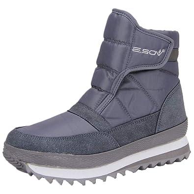 tqgold Winterschuhe Damen Winterstiefel Warm Gefütterte Schneestiefel  Wasserdicht Rutschfest Winter Stiefel Outdoor Boots Grau Größe 34 00134bf9ea
