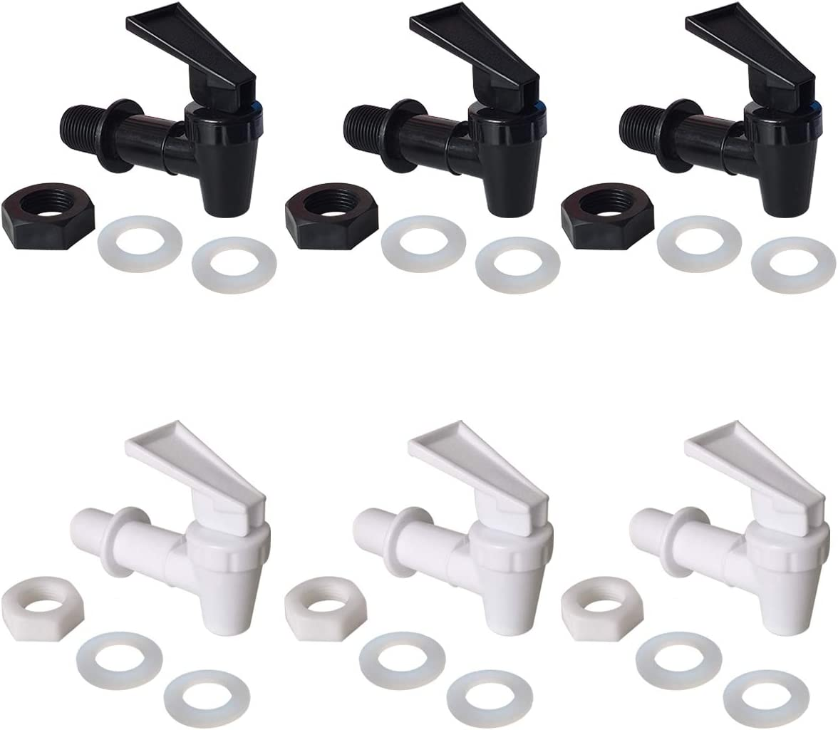Water Crock Water Tap - 3 White and 3 Black Water Bottle Jug Reusable Spigot Spout - Replacement Water Beverage Lever Pour Dispenser Valve - Water Dispenser Cooler Faucet.(Pack of 6)