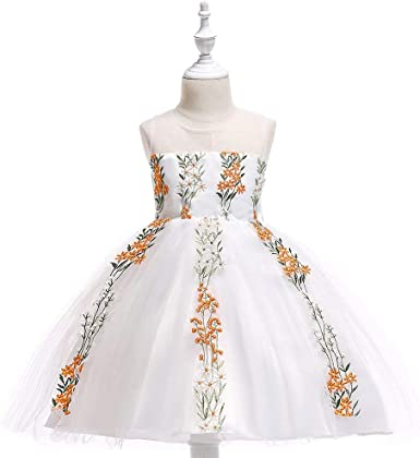 Flower Girl Dress Kids Lace Floral Sequins Pageant Wedding Birthday Romper Dress