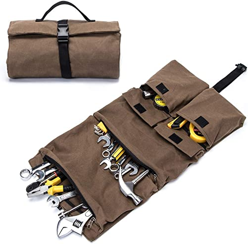 Super Dopp Kit,Large Tool Roll,Waxed Canvas ElectricianTravel Kit,Heavy Duty Roll Up Pouch,Hanging Mechanic Bag,Car First Aid Kit Wrap Roll Storage Case,Handy Plumbers Tools Carrier Tote Khaki