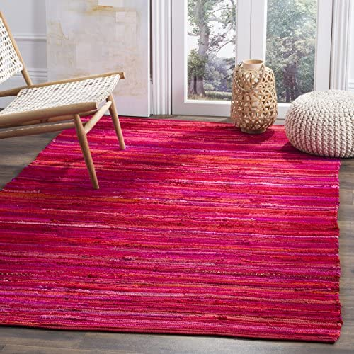 Safavieh Rag Rug Collection RAR130R Hand Woven Red and Multi Cotton Area Rug 8 x 10