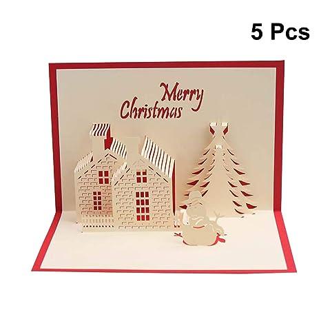 Toyvian 5 unids Tarjeta de Navidad 3D Pop Up Tarjeta con ...