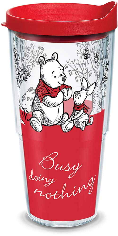Clear Christopher Robin Busy Doing Nothing Insulated Tumbler with Wrap and Red with Gray Lid Tervis 1299949 Disney 24oz Water Bottle