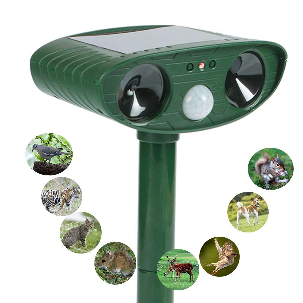 HongLex Ultrasonic Animal Repeller, Solar Powered Repellent with Red Flashing Lights and Ultrasonic Motion Sensor Outdoor Waterproof Farm Garden Yard Repellent,Skunks, Foxes,Dogs,Cats,Deer,Birds,etc.
