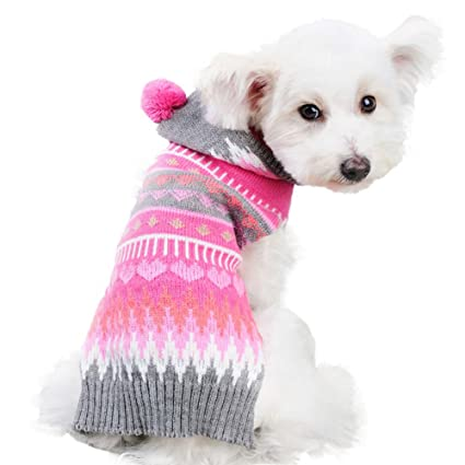 d71fb4d6e7a6 Amazon.com   NACOCO Dog Sweater Cat Snowflake Sweater Hoodies ...