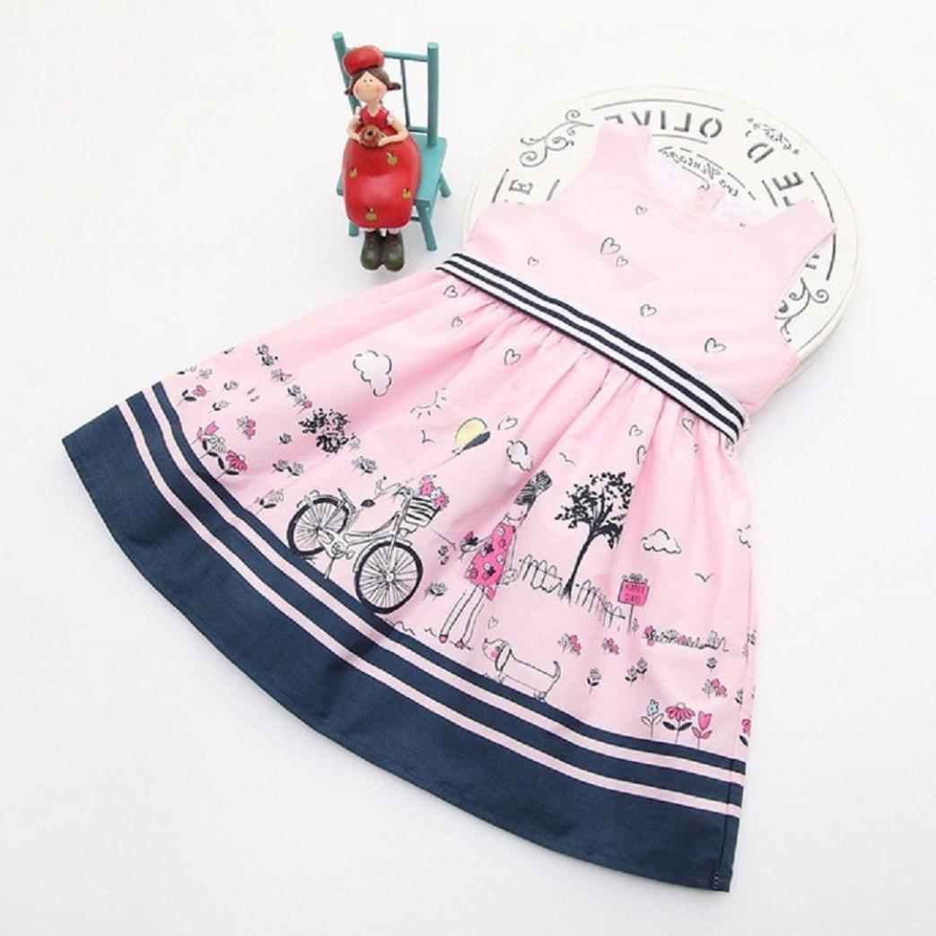 TOPUNDER 2-8Years Kids Girls Pink Sleeveless Cute Pattern Party Princess Dress