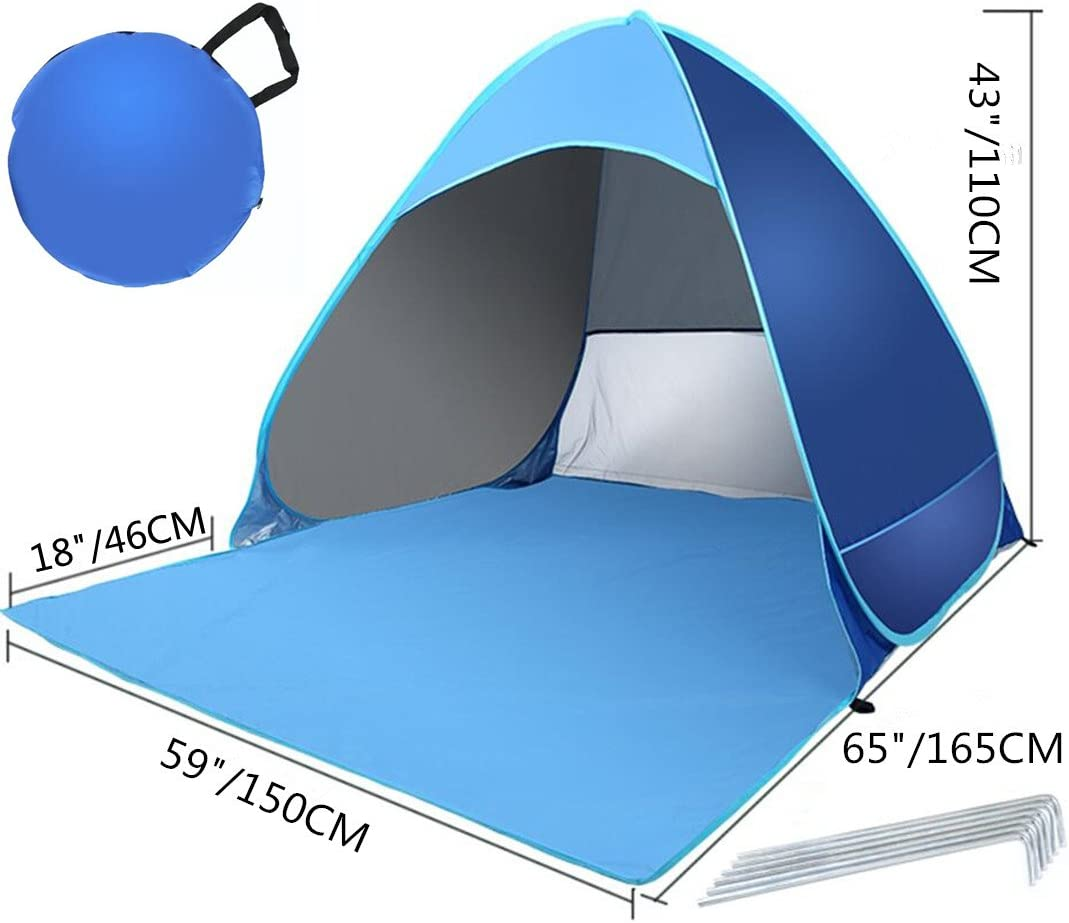 Picnic Camping Portable Lightweight Sun Shade Tent for Beach Emwel Automatic Pop-up Beach Tent for 1-3 Person Garden Fishing Anti-UV and Waterproof