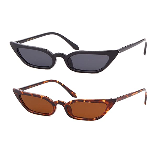 2e956875d54a5 Small Skinny Cat Eye Sunglasses Vintage Sex Square Frame Clout Goggles for  Women (Black+