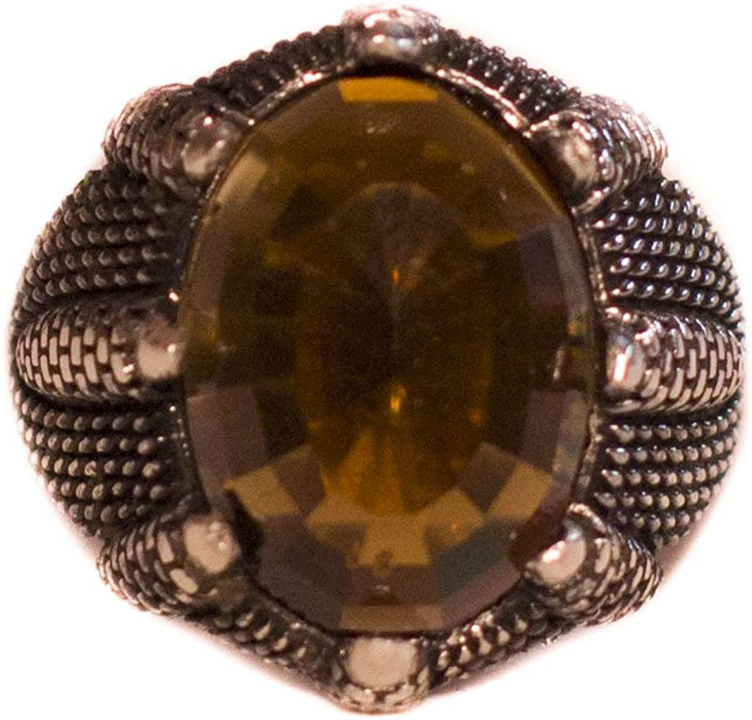 Created Smoky-Quartz Stone Eagles Claw Ring Falcon Jewelry Sterling Silver Men Ring
